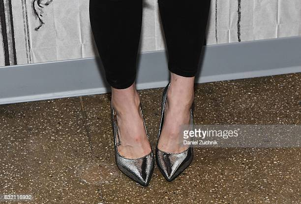 Olivia Taylor Dudley heels detail attends the Build Series to discuss the show 'The Magicians' at Build Studio on January 19 2017 in New York City