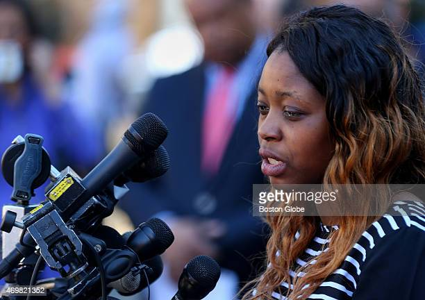 Olivia Thibou, the sister of Odin Lloyd, speaks to the media with tears in her eyes after Aaron Hernandez was found guilty of first degree murder of...
