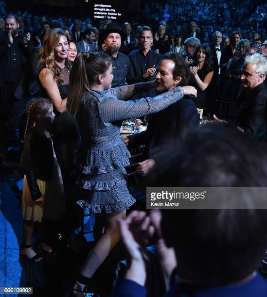 Olivia Vedder and inductee Eddie Vedder of Peal Jam attend 32nd Annual Rock Roll Hall Of Fame Induction Ceremony at Barclays Center on April 7 2017...