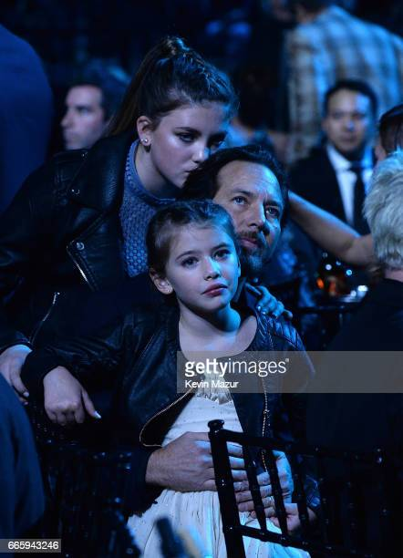 Olivia Vedder Eddie Vedder and Harper Vedder attend 32nd Annual Rock Roll Hall Of Fame Induction Ceremony at Barclays Center on April 7 2017 in New...