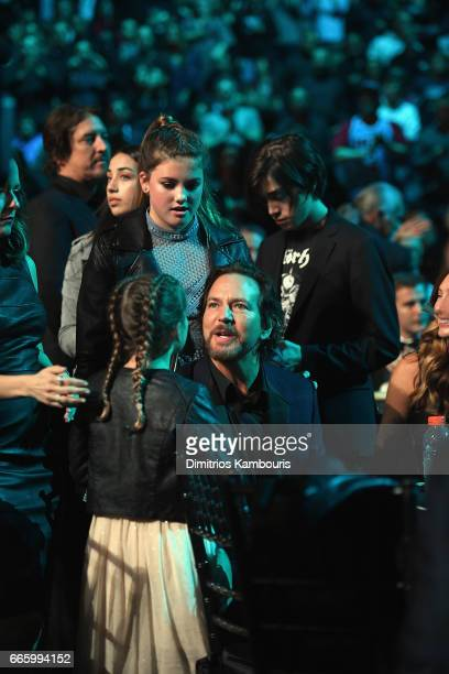 Olivia Vedder Harper Vedder and 2017 Inductee Eddie Vedder of Pearl Jam attend the 32nd Annual Rock Roll Hall Of Fame Induction Ceremony at Barclays...