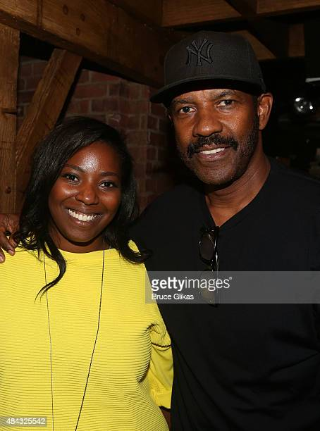 Olivia Washington and Denzel Washington pose backstage at the hit musical Hamilton on Broadway at The Richard Rogers Theater on August 16 2015 in New...