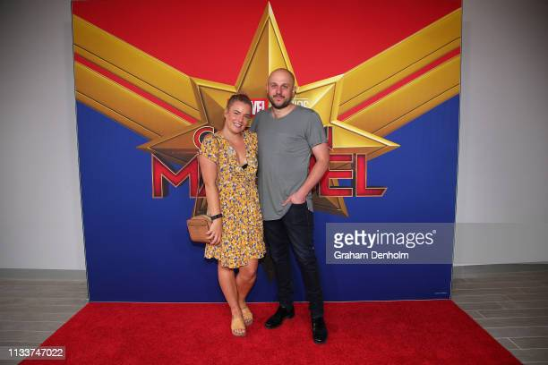 Olivia White and her husband attend the Marvel Studios' Captain Marvel Premiere at Hoyts The District Docklands on March 05 2019 in Melbourne...