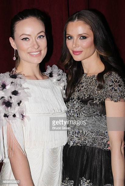 Olivia Wilde and Georgina Chapman attend The Opening Night performance of Finding Neverland on Broadway at The LuntFontanne Theatre on April 15 2015...