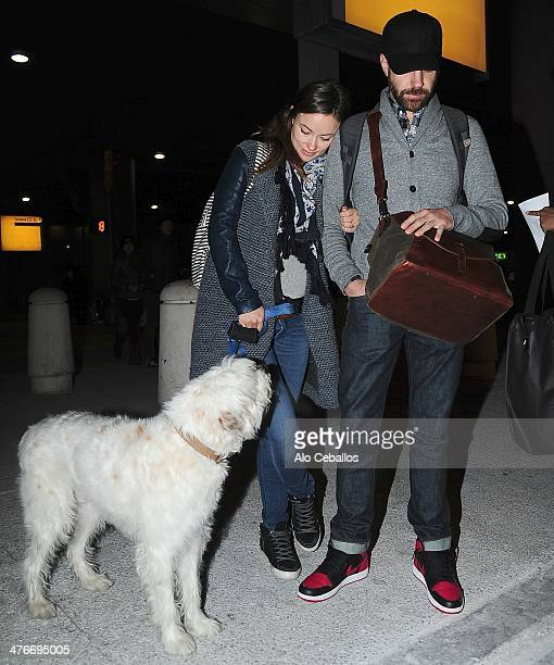 Olivia Wilde and Jason Sudeikis are seen at JFK airport on March 4 2014 in New York City