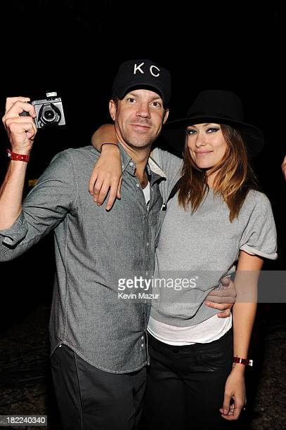 Olivia Wilde and Jason Sudeikis attend the 2013 Global Citizen Festival to end extreme poverty in Central Park on September 28 2013 in New York City...