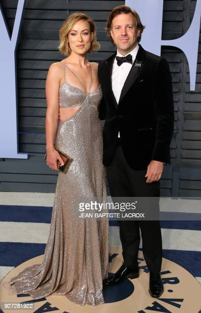 Olivia Wilde and Jason Sudeikis attend the 2018 Vanity Fair Oscar Party following the 90th Academy Awards at The Wallis Annenberg Center for the...
