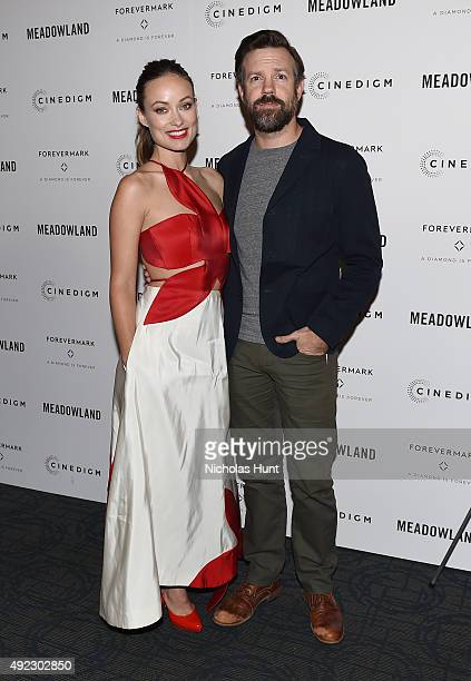 Olivia Wilde and Jason Sudeikis attend the 'Meadowland' New York Premiere at Sunshine Landmark on October 11 2015 in New York City