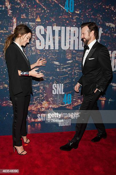Olivia Wilde and Jason Sudeikis attend the SNL 40th Anniversary Celebration at Rockefeller Plaza on February 15 2015 in New York City
