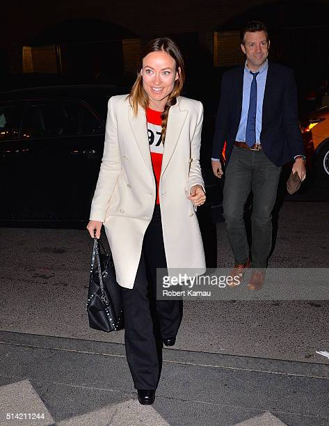 Olivia Wilde and Jason Sudeikis seen at the Pierre Hotel for an Actors' Choice Gala on March 7 2016 in New York City