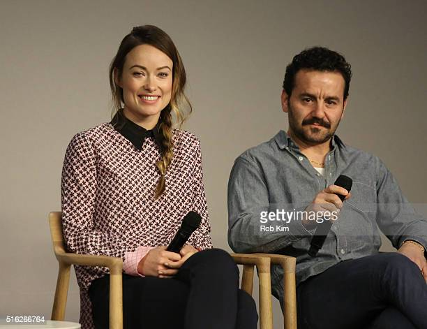 Olivia Wilde and Max Casella attend the Meet The Filmmaker event to discuss the series 'Vinyl' at Apple Store Soho on March 17 2016 in New York City