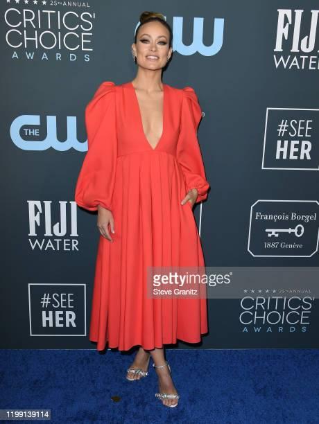 Olivia Wilde arrives at the 25th Annual Critics' Choice Awards at Barker Hangar on January 12, 2020 in Santa Monica, California.