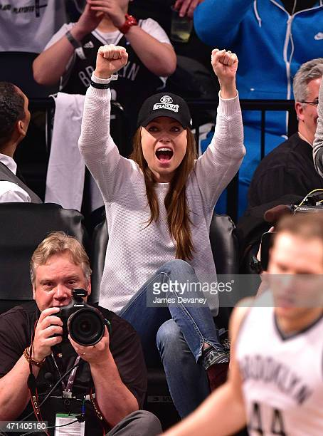 Olivia Wilde attends the Atlanta Hawks vs Brooklyn Nets game at Barclays Center on April 27 2015 in New York City