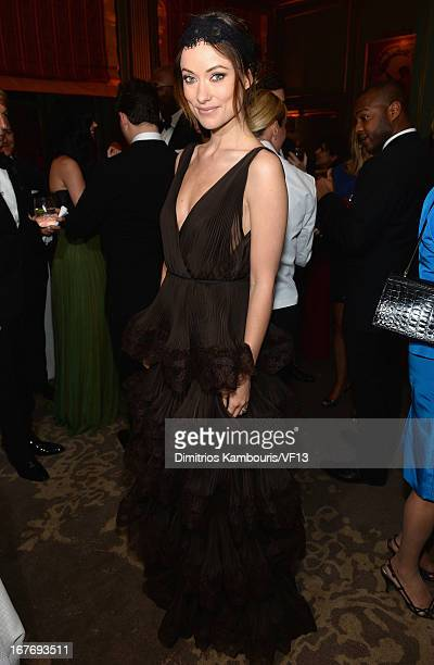 Olivia Wilde attends the Bloomberg Vanity Fair cocktail reception following the 2013 WHCA Dinner at the residence of the French Ambassador on April...