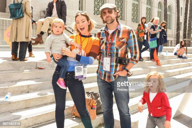 Olivia Wilde Jason Sudeikis and Otis Sudeikis Daisy Sudeikis attends March For Our Lives Los Angeles on March 24 2018 in Los Angeles California