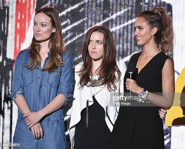 Olivia Wilde Jordan Hewson and Jessica Alba speak onstage at the 2014 Global Citizen Festival to end extreme poverty by 2030 in Central Park on...