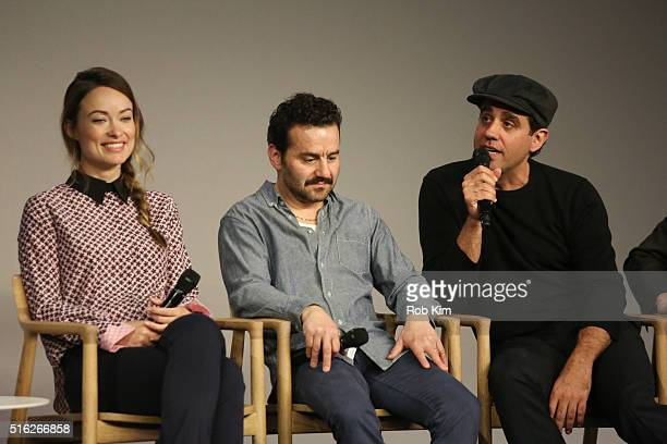 Olivia Wilde Max Casella and Bobby Cannavale attend the Meet The Filmmaker event to discuss the series 'Vinyl' at Apple Store Soho on March 17 2016...