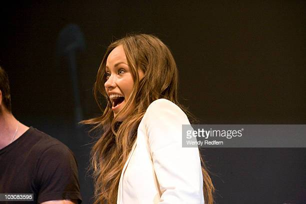 Olivia Wilde speaks at the Cowboys and Aliens panel at ComicCon on July 24 2010 in San Diego California