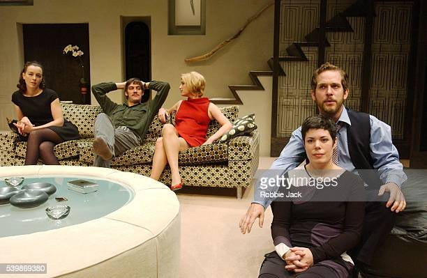 Olivia Williams Adrian Bower Susannah Harker Selina Griffiths and Tom Hollander in the production 'The Hotel In Amsterdam' at the Donmar Warehouse