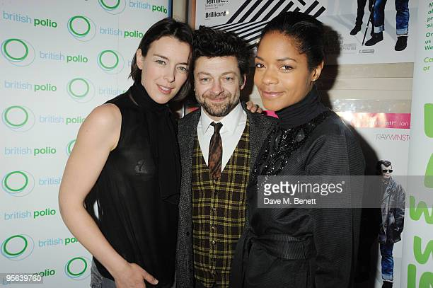 Olivia Williams Andy Serkis and Naomie Harris attend the charity premiere of ''Sex Drugs Rock Roll'' in aid of Macmillan Cancer care at the Appollo...