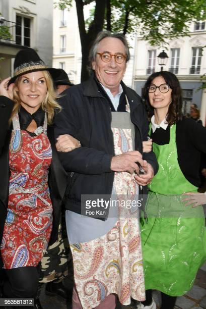 Olivia Zeltner, singer Philippe Lavil and designer Zelia Van den Bulke attend Zelia Van Den Bulke Aprons show At Zelia Abbesses Shop on May 1, 2018...