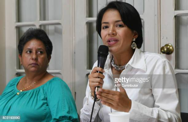 Olivia Zuniga daughter of muredered Honduran indigenous environmentalist Berta Caceres respectively speaks during a press conference next to Caceres'...