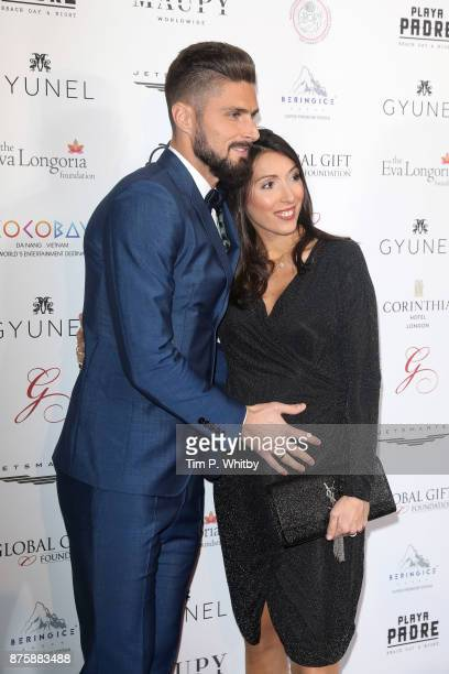 Olivier and Jennifer Giroud attend The Global Gift Gala London held at Corinthia Hotel London on November 18 2017 in London England