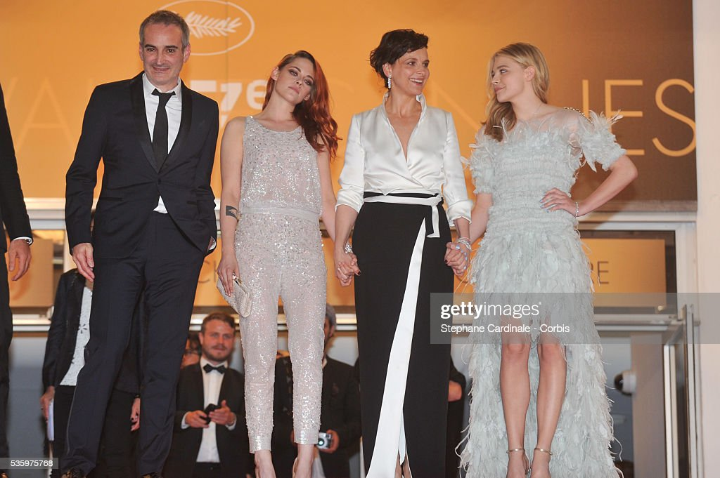 Olivier Assayas, Kristen Stewart, Juliette Binoche and Chloe Grace Moretz after the 'Clouds Of Sils Maria' Premiere at the 67th Annual Cannes Film Festival