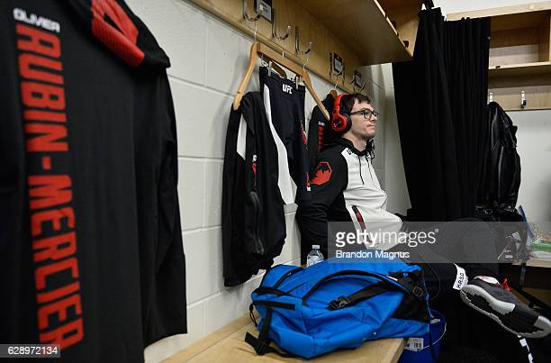 Olivier Aubin-Mercier of Canada relaxes backstage during the UFC 206 event inside the Air Canada Centre on December 10, 2016 in Toronto, Ontario,...