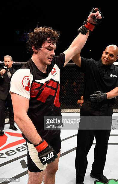 Olivier AubinMercier reacts after his decision victory over Tony Sims in their lightweight bout during the UFC event at the SaskTel Centre on August...