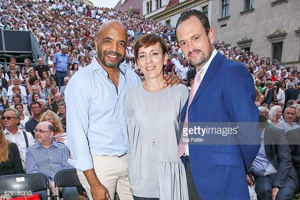 Olivier Audemars Dorota Audemars and Alexander von SchoenburgGlauchau attend the Joan Baez Concert during the Thurn Taxis Castle Festival 2016 on...