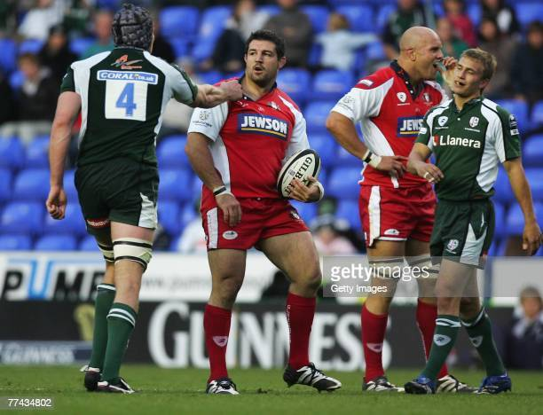 Olivier Azam of Gloucester and Nick Kennedy of London Irish confront each other during the Guinness Premiership match between London Irish and...
