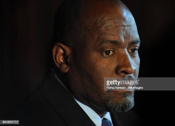 Olivier Bancoult the Chagossian leader holds a press conference at the House of Commons following the Law Lords judgment over the decision of the...