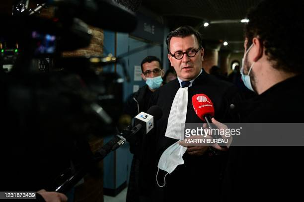 Olivier Baratelli, lawyer of Former Ikea France human ressources director Claire Herry, answers journalists questions at Versailles courthouse, on...