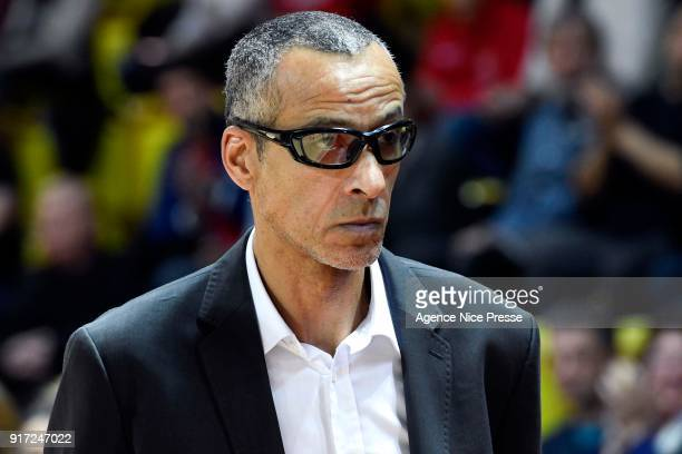 Olivier Basset assistant coach of Monaco during the Pro A match between Monaco and Gravelines Dunkerque on February 11 2018 in Monaco Monaco