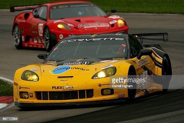 Olivier Beretta drives the GT2 Corvette Racing Chevrolet Corvette C6R during the American Le Mans Series Acura Sports Car Challenge on August 8 2009...