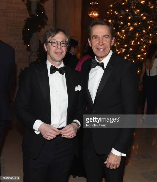Olivier Berggruen and Jeff Koons attend the Berggruen Prize Gala at the New York Public Library on December 14 2017 in New York City