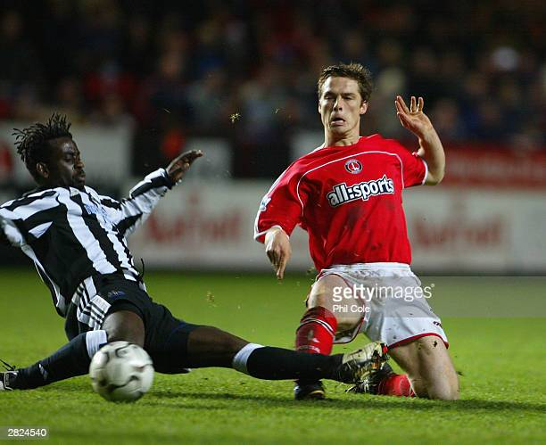 Olivier Bernard of Newcastle tackles Scott Parker of Charlton during the FA Barclaycard Premiership match between Charlton Athletic and Newcastle...