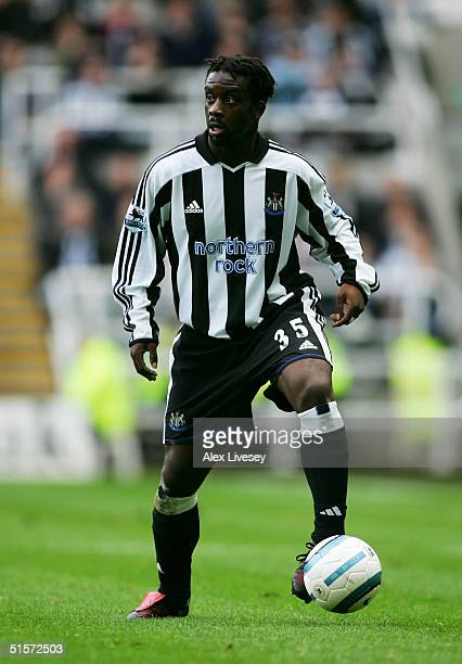 Olivier Bernard of Newcastle United in action during the Barclays Premiership match between Newcastle United and Manchester City at St James' Park on...