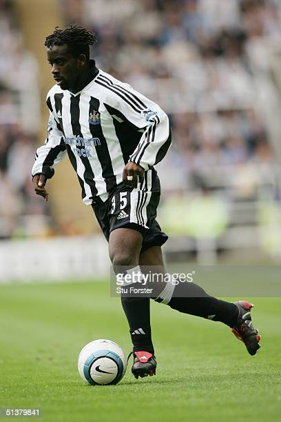 Olivier Bernard of Newcastle United runs with the ball during the FA Barclays Premiership match between Newcastle United and West Bromwich Albion at...