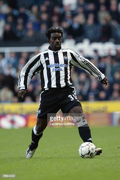Olivier Bernard of Newcastle United takes the ball into his stride during the FA Barclaycard Premiership match between Newcastle United and Blackburn...