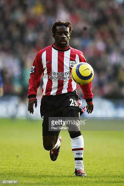 Olivier Bernard of Southampton in action during the Barclays Premiership match between Southampton and Everton at St Mary's on February 6 2005 in...