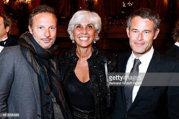 Olivier Bialobos, Linda Pinto and Philippe Mugnier attend Arop Charity Gala with 'Ballet du Theatre Bolchoi'. Held at Opera Garnier on January 9,...