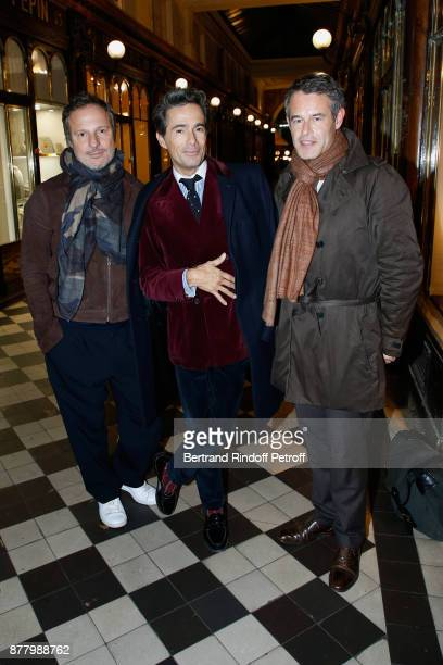 Olivier Bialobos Vincent Darre and Philippe Mugnier attend the Ligne Blanche Boutique Opening at Galerie VeroDodat on November 23 2017 in Paris France