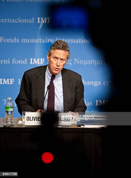 Olivier Blanchard, chief economist for the International Monetary Fund, gives a press briefing on the world economic outlook at IMF headquarters in...