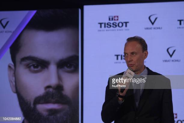 Olivier Cosandier VP Sales Tissot at Swatch Group talks during the unveiling of their special edition Tissot CHRONO XL Classic at hotel Taj Land Ends...