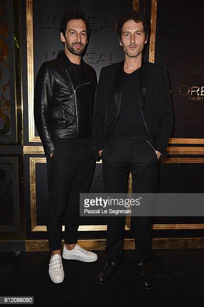 Olivier Coursier and Simon Buret attend the Gold Obsession Party L'Oreal Paris Photocall as part of the Paris Fashion Week Womenswear Spring/Summer...