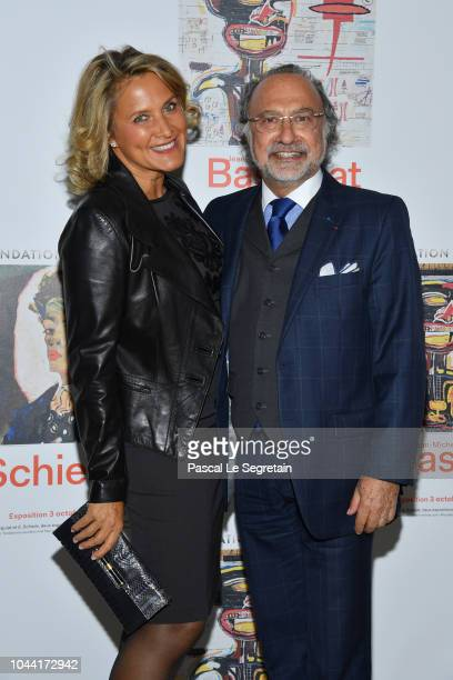 Olivier Dassault and Natacha Nikolajevic attend the Opening Of The New Exhibitions JeanMichel Basquiat And Egon Schiele At The Fondation Louis...
