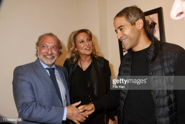 Olivier Dassault his wife Not A Gallery director Natacha Dassault and Street Painter JonOne attend JonOne Paintings Exhibition Preview Hosted by...