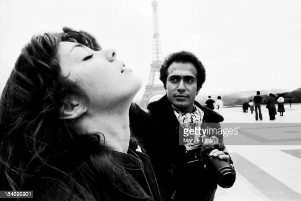 Olivier Dassault Photographer photo shoot with Anne Parillaud in front of the Eiffel Tower
